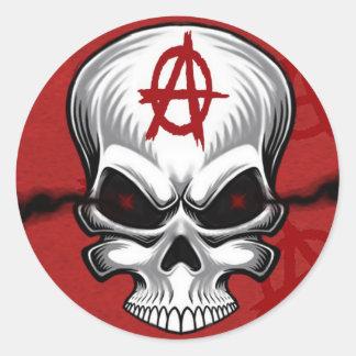 Crimson Skull Anarchy Round Sticker