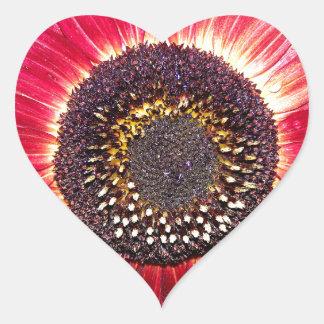 Crimson Sunflower Heart Sticker