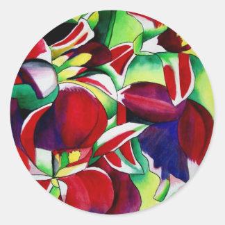 Crimson tropical Singapore Orchids flower art Round Sticker