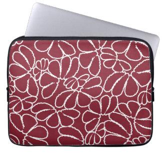 Crimson Whimsical Ikat Floral Petal Doodle Pattern Laptop Computer Sleeve