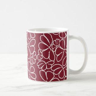 Crimson Whimsical Ikat Floral Petal Doodle Pattern Mug