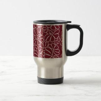 Crimson Whimsical Ikat Floral Petal Doodle Pattern Coffee Mug