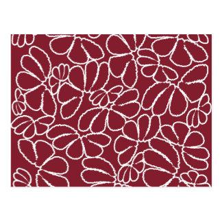 Crimson Whimsical Ikat Floral Petal Doodle Pattern Postcard