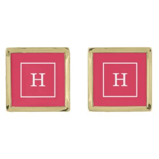 Crimson White Framed Initial Monogram Gold Finish Cuff Links