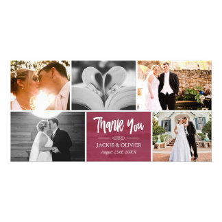 Crimson & White Wedding Photo Collage Thank You Card