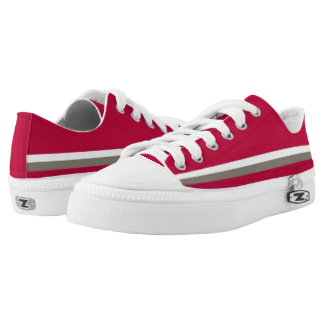 Crimson with White and Pewter One-Stripe Lo-Top Printed Shoes
