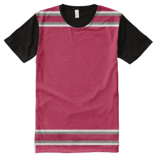 Crimson with White and Pewter Trim All-Over Print T-Shirt