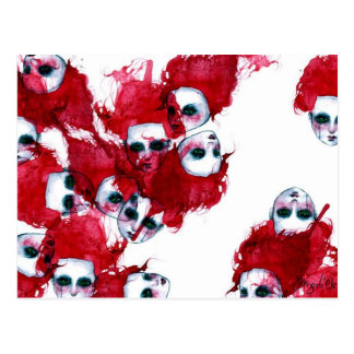 Crimsonheads Watercolor Painting Postcard