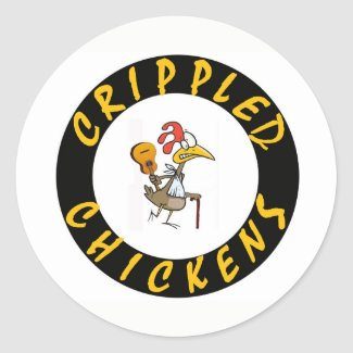 Crippled Chickens Sticker - 1.5 Inch Round