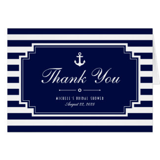 Crisp Blue Nautical Striped Thank You Note Card