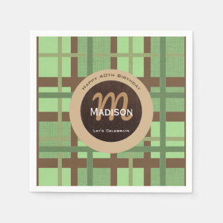 Crisp Green & Brown Contemporary Paper Serviettes