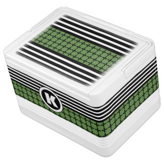 Crisp Green, White & Black w/Monogram Cooler