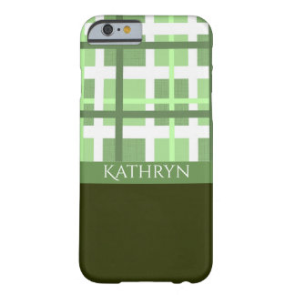 Crisp Green & White Contemporary Pattern Barely There iPhone 6 Case