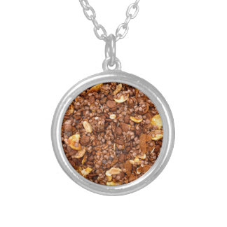 Crisp Muesli Texture Silver Plated Necklace