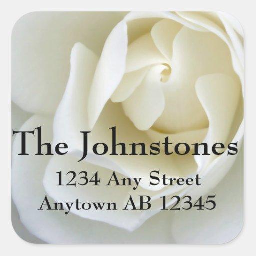 Crisp Sugar White Rose Wedding Return Address Square Sticker