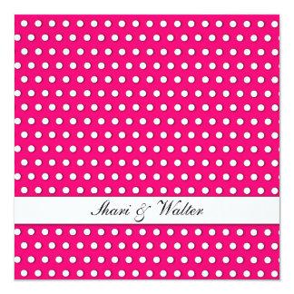 Crisp White Polkadot Pattern 13 Cm X 13 Cm Square Invitation Card