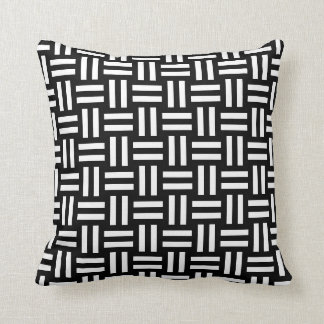 Criss Cross Black and White Geometric Pattern Cushion