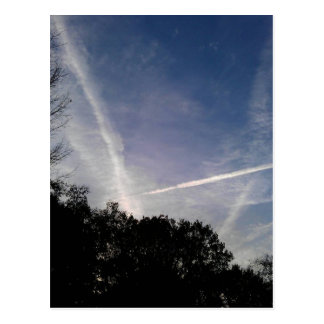 Criss-cross sky postcard