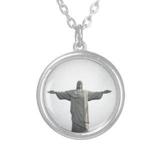 Cristo redentor Christ the redeemer with copy spac Silver Plated Necklace