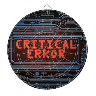 Critical error concept. dartboard with darts