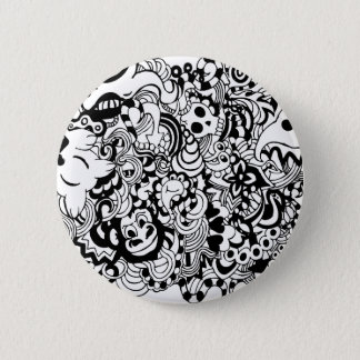 Critters in chaos doodle 6 cm round badge