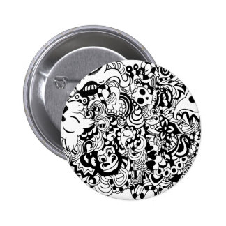 Critters in chaos doodle pinback button