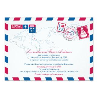 Croatia Air Mail Post Wedding Reception 13 Cm X 18 Cm Invitation Card