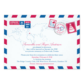 Croatia Air Mail Post Wedding Reception Card