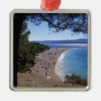 Croatia, Brac Island, Bol, Golden Cape Beach Metal Ornament