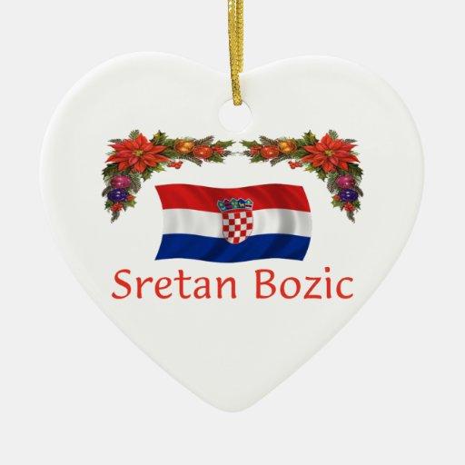 Croatia Christmas Ceramic Heart Decoration