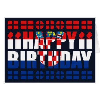 Croatia Flag Birthday Card