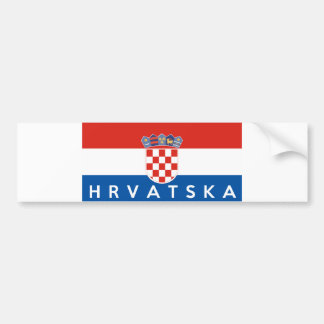 croatia flag country hrvatska text name bumper sticker