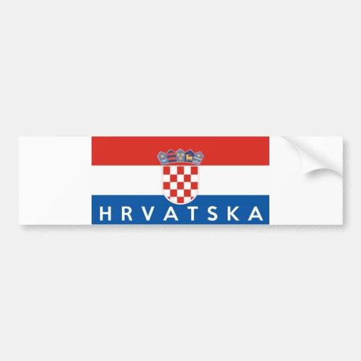 croatia flag country hrvatska text name bumper stickers