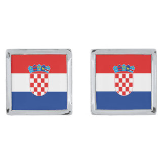 Croatia Flag Cufflinks Silver Finish Cuff Links