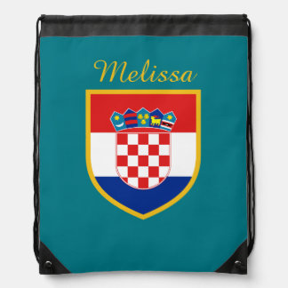 Croatia Flag Personalized Drawstring Bag