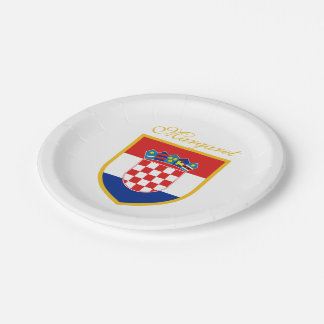 Croatia Flag Personalized Paper Plate
