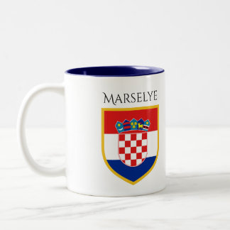 Croatia Flag Personalized Two-Tone Coffee Mug