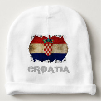 croatia flag ripped baby beanie