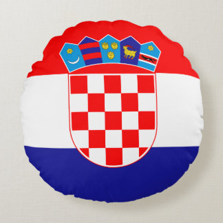 Croatia Flag Round Cushion