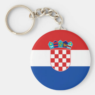 Croatian Flag Basic Round Button Key Ring