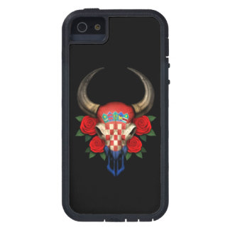 Croatian Flag Bull Skull with Red Roses iPhone 5/5S Covers