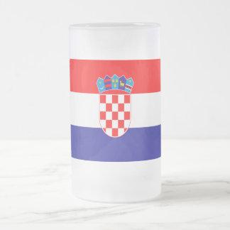 Croatian flag frosted glass beer mug