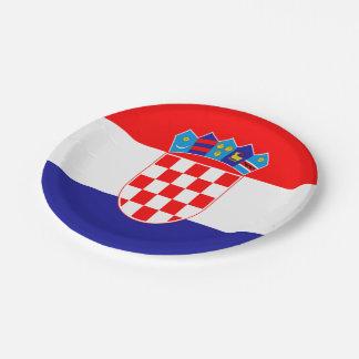 Croatian flag paper plate