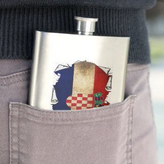 croatian flag ripped flasks