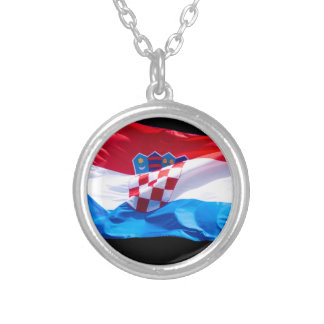 Croatian Flag Silver Plated Necklace
