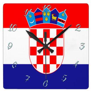 Croatian flag square wall clock