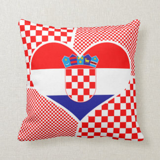 Croatian Flag with Red & White Checkers - Collage Cushion