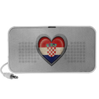 Croatian Heart Flag Stainless Steel Effect Notebook Speaker