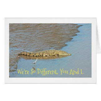 CROC AND SMALL BIRD /WE'RE SO DIFFERENT/HAPPY ANNI CARD