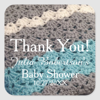 Crochet Blanket Boy Baby Shower Thank You Stickers